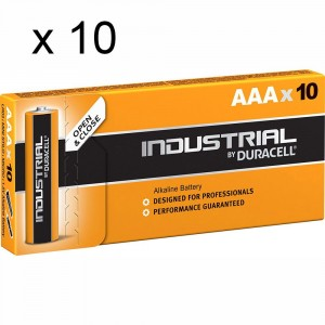 10 PACCHI 100 BATTERIE DURACELL INDUSTRIAL MINI STILO AAA LR03 PILE ALCALINE