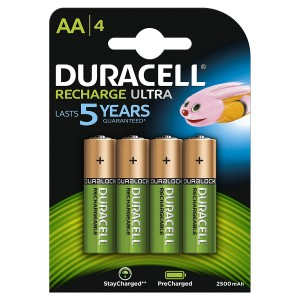 4 BATTERIES DURACELL RECHARGE ULTRA RECHARGEABLE AA DURALOCK 2500 mAh