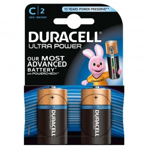 2 PILE BATTERIE DURACELL ULTRA POWER CON POWERCHECK C MEZZA TORCIA DURALOCK
