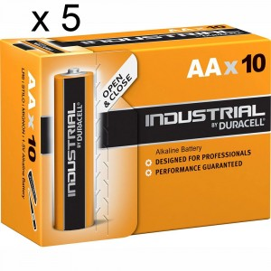 5 PACCHI 50 BATTERIE DURACELL INDUSTRIAL STILO AA LR6 1.5V PILE ALCALINE PROCELL