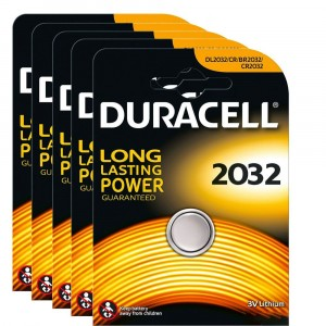 5 BATTERIE A BOTTONE DURACELL 2032 CR2032 3V LITHIUM LITIO PILE LUNGA DURATA