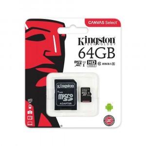 KINGSTON MICRO SD 64GB CLASSE 10 CON ADATTATORE SD 80MB/S CANVAS SELECT