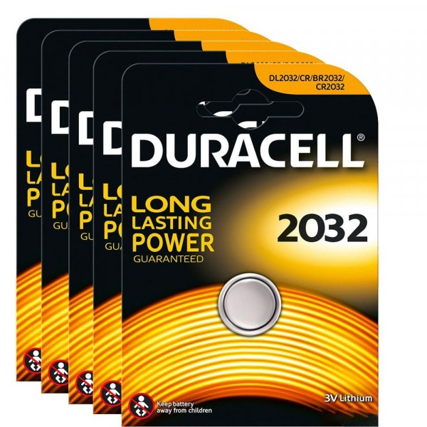 5 CONFEZIONI 5 BATTERIE A BOTTONE DURACELL 2032 CR2032 3V LITHIUM LITIO PILE