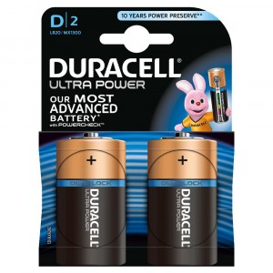 2 BATTERIES DURACELL ULTRA POWER WITH POWERCHECK D MONO