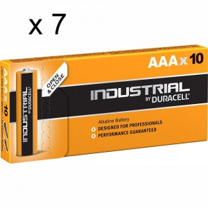 7 PACCHI 70 BATTERIE DURACELL INDUSTRIAL MINI STILO AAA LR03 1.5V PILE ALCALINE