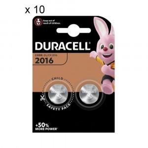 20 Batterie Duracell 2016 Pile A Bottone 3V Lithium Litio DL2016 CR2016