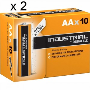 2 PACCHI 20 BATTERIE DURACELL INDUSTRIAL STILO AA LR6 1.5V PILE ALCALINE PROCELL