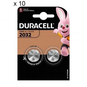 20 Batterie Duracell 2032 Pile A Bottone 3V Lithium Litio DL2032 CR2032