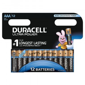 12 BATTERIES DURACELL ULTRA POWER WITH POWERCHECK AAA 1.5V ALKALINE