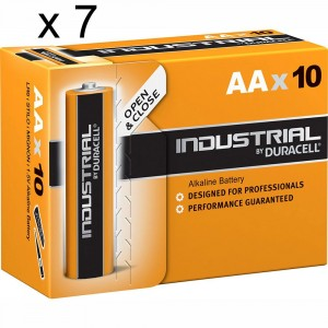 70 Batteries Duracell Industrial AA LR6 1.5V Alkaline Battery Procell