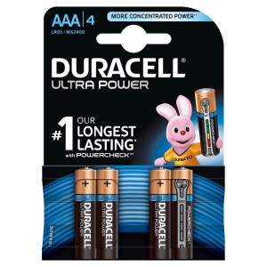 4 PILE BATTERIE DURACELL ULTRA POWER CON POWERCHECK AAA MINI STILO DURALOCK