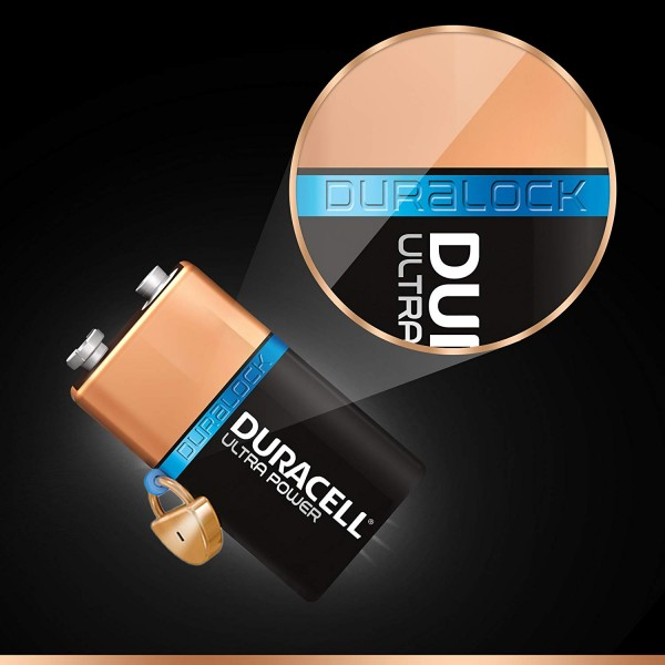 1 BATTERY DURACELL ULTRA POWER WITH POWERCHECK 9V ALKALINE