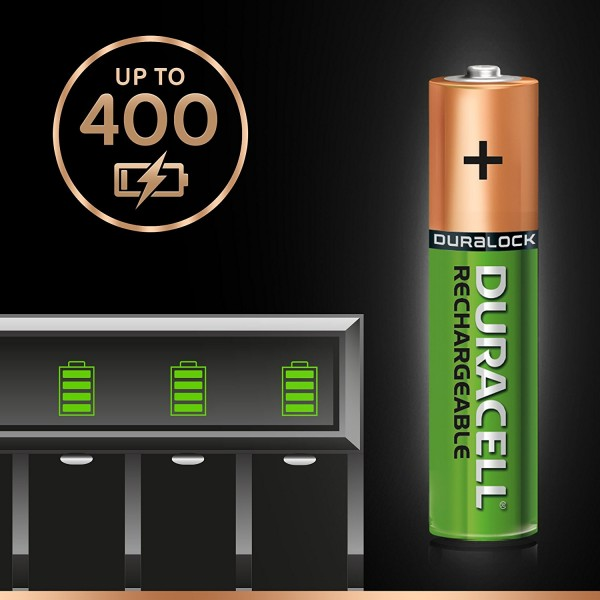 4 BATTERIES RECHARGEABLE AAA DURACELL 850 mAh STAYCHARGED PRECHARGED