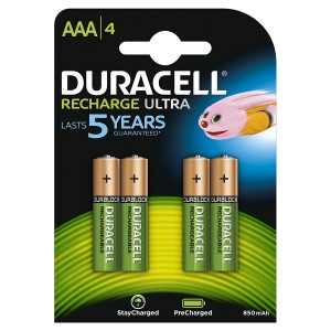4 BATTERIES DURACELL RECHARGE ULTRA RECHARGEABLE AAA MICRO NIMH 850 mAh