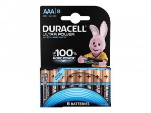 8 PILE BATTERIE DURACELL ULTRA POWER CON POWERCHECK AAA MINI STILO MICRO