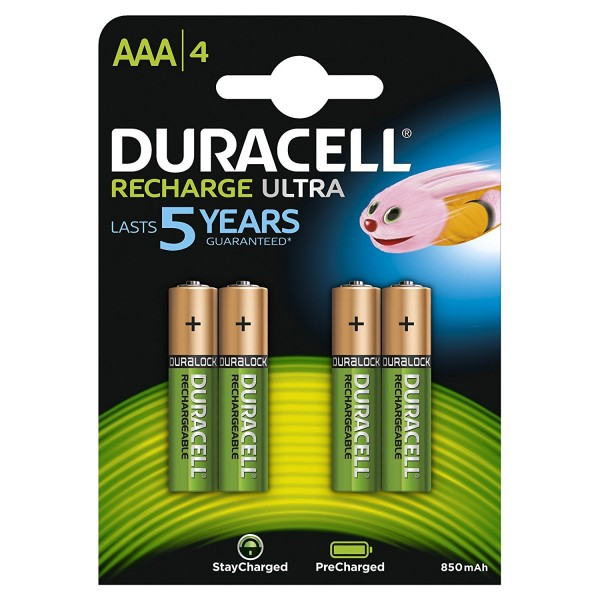 4 PILES BATTERIES RECHARGEABLES AAA DURACELL 850 mAh PRECHARGE PRECHARGED
