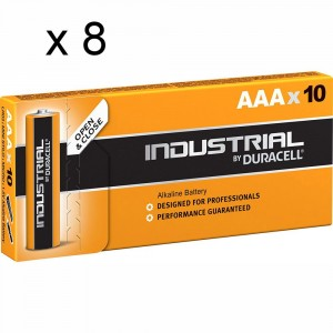 8 PACCHI 80 BATTERIE DURACELL INDUSTRIAL MINI STILO AAA LR03 1.5V PILE ALCALINE