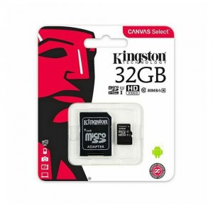 KINGSTON MICRO SD 32GB CLASE 10 CON ADAPTADOR SD 80MB/S CANVAS SELECT