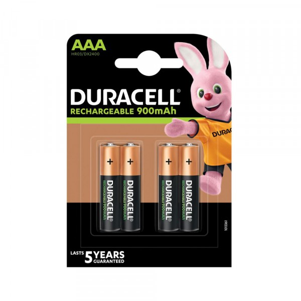 4 BATTERIES RECHARGEABLE AAA DURACELL MINI STILO MICRO HR03 DX2400 NiMH 900 mAh 1.2V