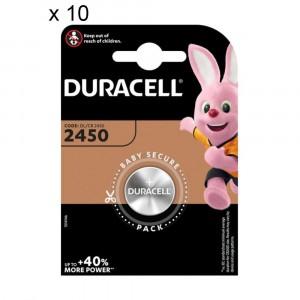 10 Batterie Duracell 2450 Pile A Bottone 3V Lithium Litio DL2450 CR2450