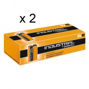 2 PACCHI 20 BATTERIE DURACELL INDUSTRIAL E-BLOCK TRANSISTOR 9V PILE ALCALINE