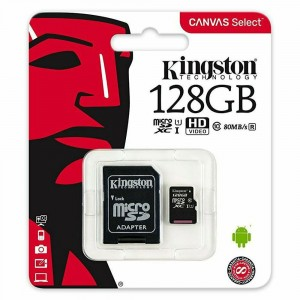 KINGSTON MICRO SD 128GB CLASS 10 WITH SD ADAPTER 80MB/S CANVAS SELECT