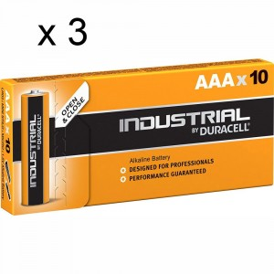 3 PACCHI 30 BATTERIE DURACELL INDUSTRIAL MINI STILO AAA LR03 1.5V PILE ALCALINE