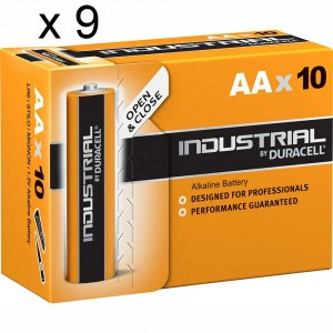 9 PACKS 90 BATTERIES DURACELL INDUSTRIAL AA LR6 1.5V ALKALINE BATTERY PROCELL