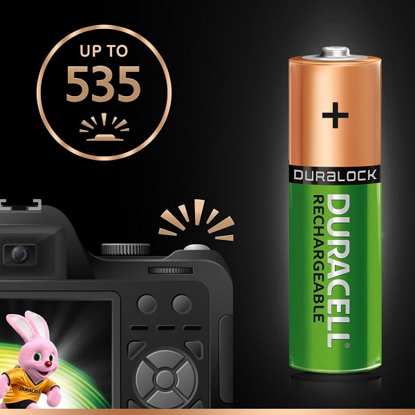 4 BATTERIES DURACELL RECHARGEABLE AA 2500 mAh RECHARGE ULTRA