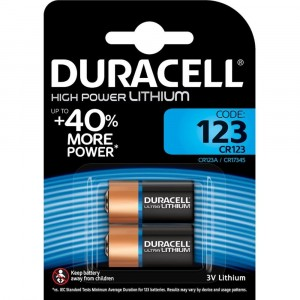 2 PILE BATTERIE DURACELL HIGH POWER LITHIUM 123 CR123 FOTO SENSORE ALLARME 3V