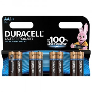 8 PILE BATTERIE DURACELL ULTRA POWER CON POWERCHECK AA LR6 MX1500