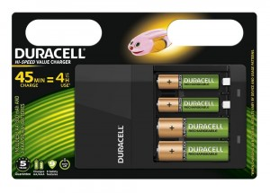Duracell CEF14 Chargeur + 2 AA + 2 AAA 45 minutes charge = 4 heures utilisation