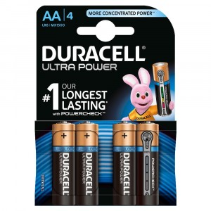4 PILE BATTERIE DURACELL ULTRA POWER CON POWERCHECK AA STILO DURALOCK